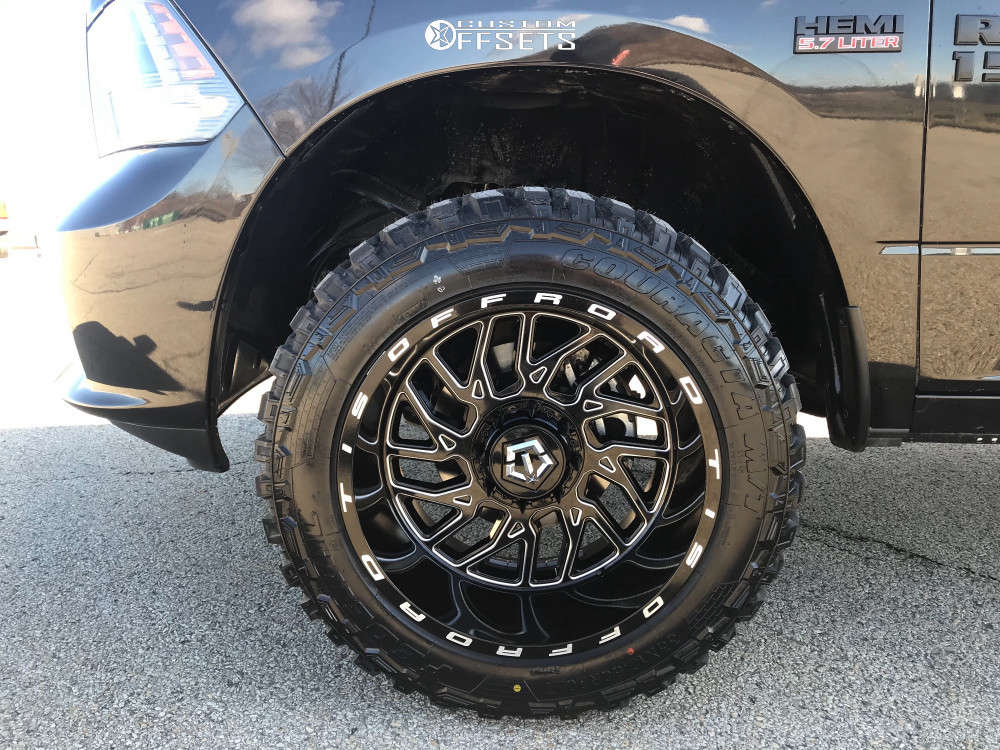 """2018 Ram 1500 Super Aggressive 3""""-5"""" on 20x12 -44 offset TIS 544bm & 33""""x12.5"""" Federal Couragia Mt on Leveling Kit - Custom Offsets Gallery"""