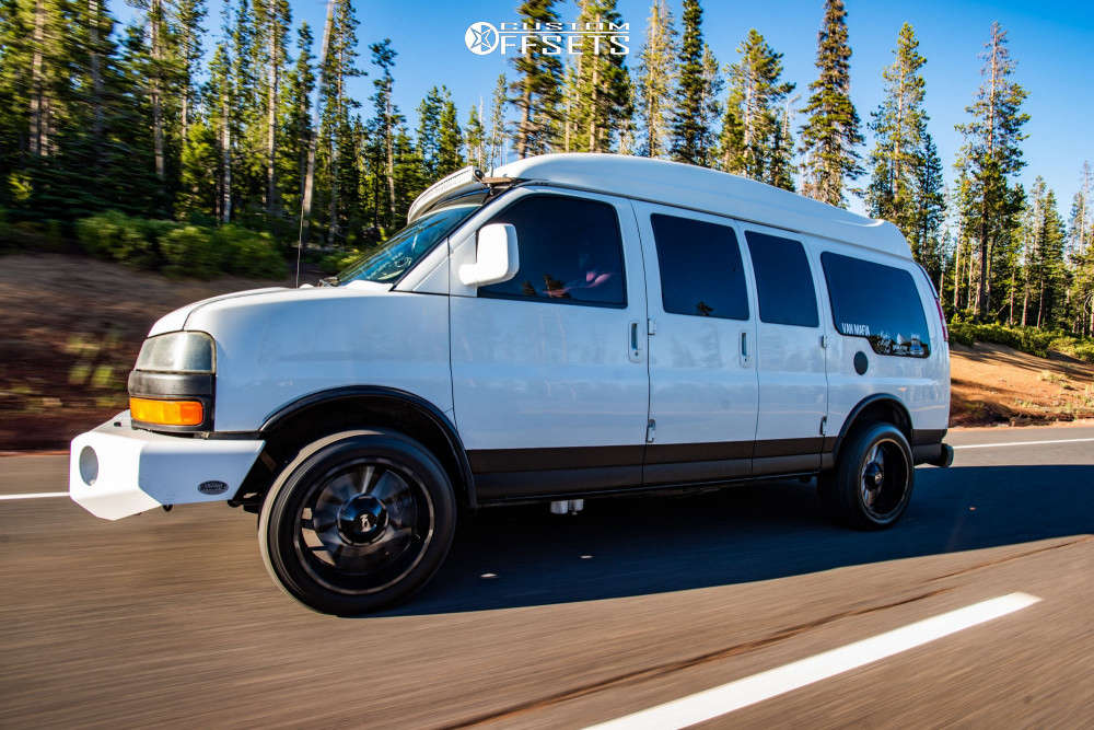 """2006 Chevrolet Express 1500 Slightly Aggressive on 20x10 -19 offset Alloy Ion 141 & 265/50 Nitto Terra Grappler G2 on Body Lift 3"""" - Custom Offsets Gallery"""