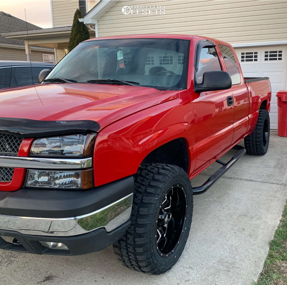 """2005 Chevrolet Silverado 1500 Aggressive > 1"""" outside fender on 20x10 -24 offset Havok H109 & 33""""x12.5"""" Federal Couragia Mt on Leveling Kit - Custom Offsets Gallery"""