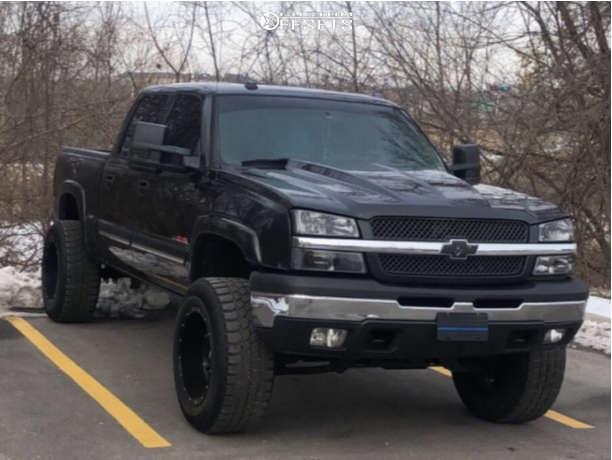 "2005 Chevrolet Silverado 1500 Aggressive > 1"" outside fender on 20x12 -44 offset Fuel Hostage & 35""x12.5"" Gladiator Qr900-mt on Suspension Lift 6"" - Custom Offsets Gallery"