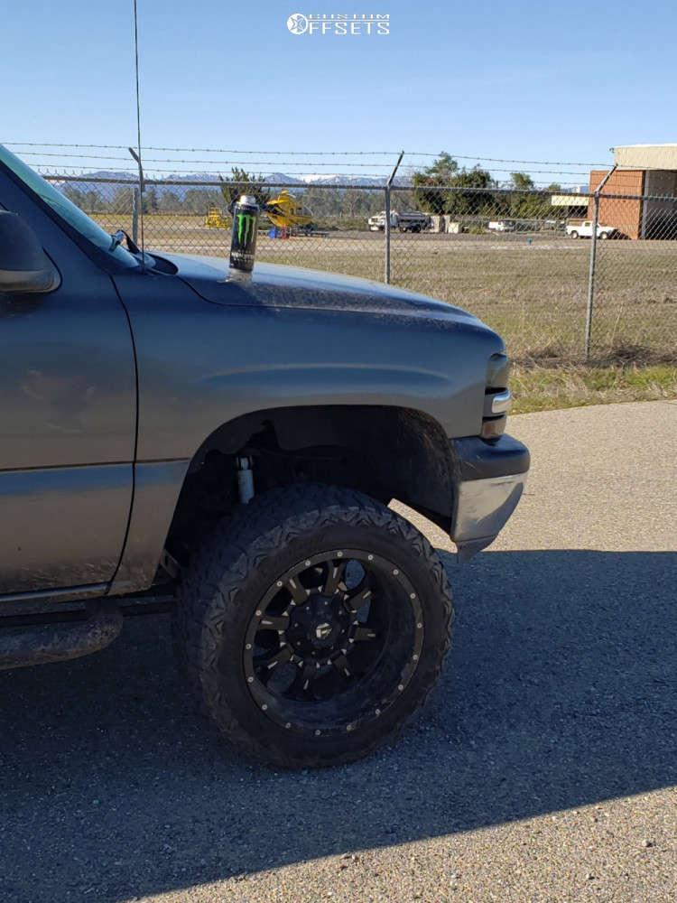 "1999 Chevrolet Silverado 1500 Aggressive > 1"" outside fender on 20x12 -44 offset Fuel Krank & 33""x12.5"" Haida Mud Champ on Suspension Lift 6"" - Custom Offsets Gallery"