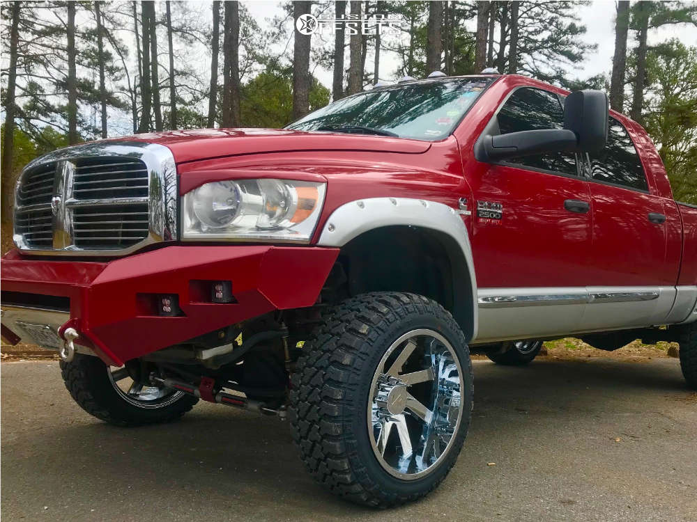 """2007 Dodge Ram 2500 Aggressive > 1"""" outside fender on 22x12 -51 offset ARKON OFF-ROAD Lincoln & 35""""x12.5"""" Fury Offroad Country Hunter Mt on Suspension Lift 4.5"""" - Custom Offsets Gallery"""