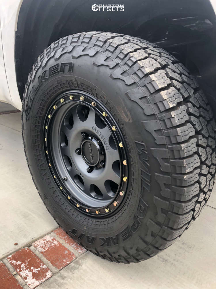 """2018 Toyota Tundra Aggressive > 1"""" outside fender on 18x9 18 offset Method Vex and 295/70 Falken Wildpeak At3w on Suspension Lift 3"""" - Custom Offsets Gallery"""