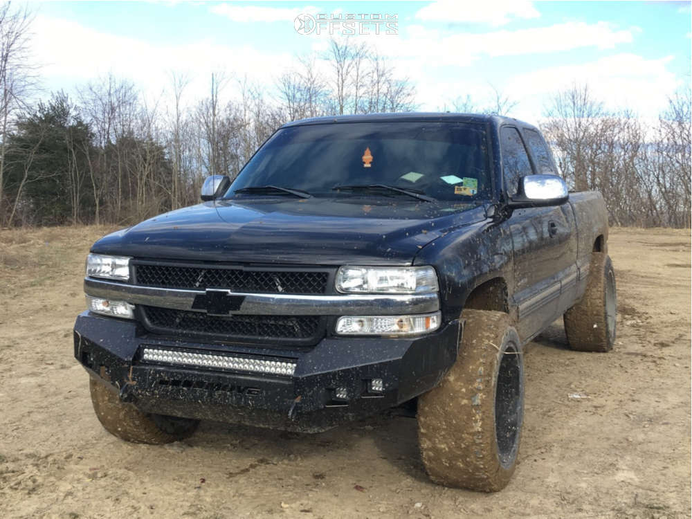 """2000 Chevrolet Silverado 1500 Aggressive > 1"""" outside fender on 20x12 -44 offset Dwg Offroad Dw14 & 305/55 Dick Cepek Mud Country on Leveling Kit - Custom Offsets Gallery"""