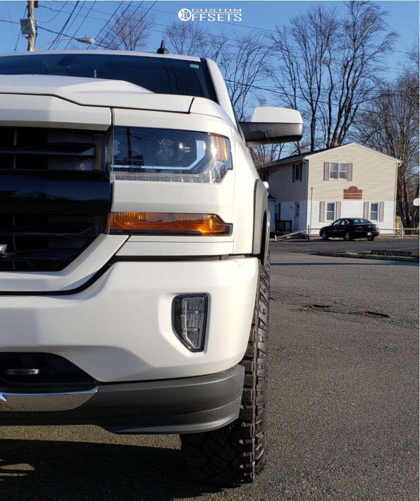 "2016 Chevrolet K1500 Aggressive > 1"" outside fender on 18x9 -12 offset XD Xd128 & 285/75 Goodyear Wrangler Duratrac on Suspension Lift 3.5"" - Custom Offsets Gallery"