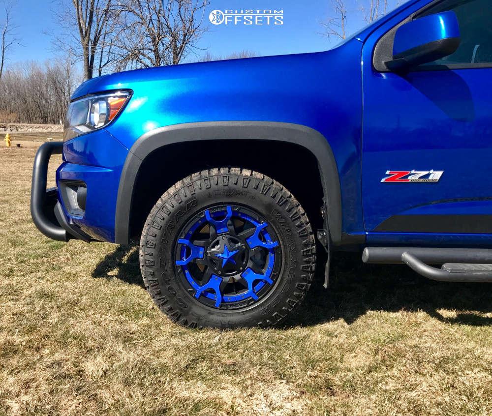 2018 Chevrolet Colorado Nearly Flush on 17x8 20 offset XD Rockstar 3 & 265/65 Goodyear Wrangler Duratrac on Stock Suspension - Custom Offsets Gallery