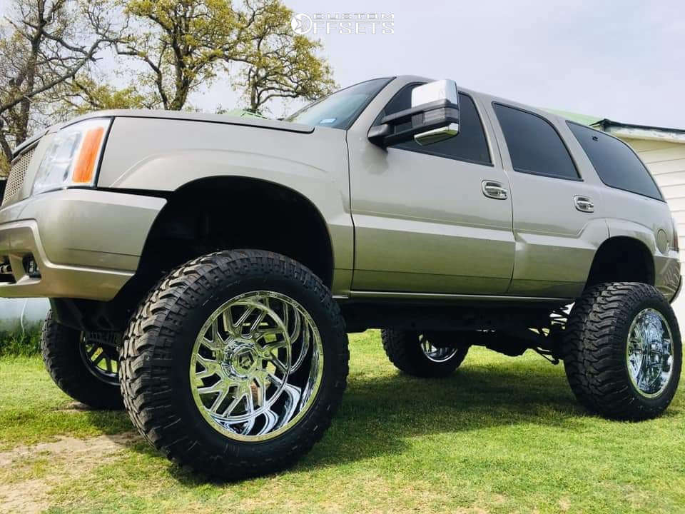 """2002 Cadillac Escalade Hella Stance >5"""" on 22x14 -76 offset TIS 544c and 38""""x15.5"""" Black Bear Mud Terrain on Lifted >12"""" - Custom Offsets Gallery"""
