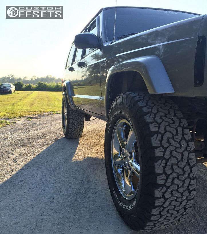 "2001 Jeep Cherokee Tucked on 17x9 0 offset MST 111 & 265/70 BFGoodrich All Terrain TA KO2 on Suspension Lift 3"" - Custom Offsets Gallery"