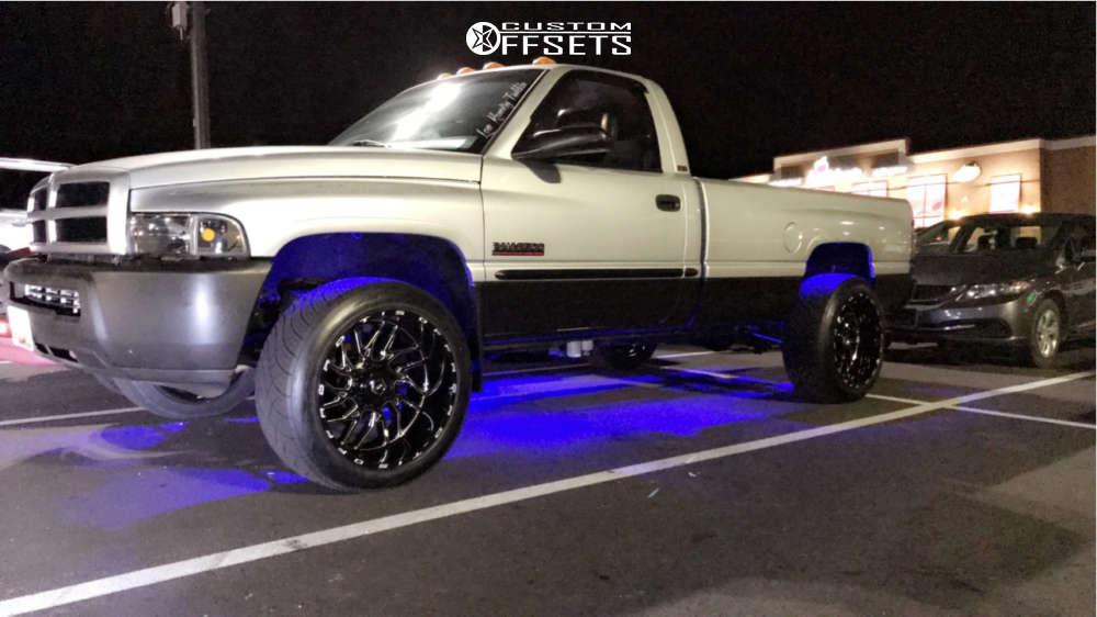 "2002 Dodge Ram 2500 Super Aggressive 3""-5"" on 22x12 -44 offset TIS 544bm & 305/45 Nitto Nt420s on Leveling Kit - Custom Offsets Gallery"