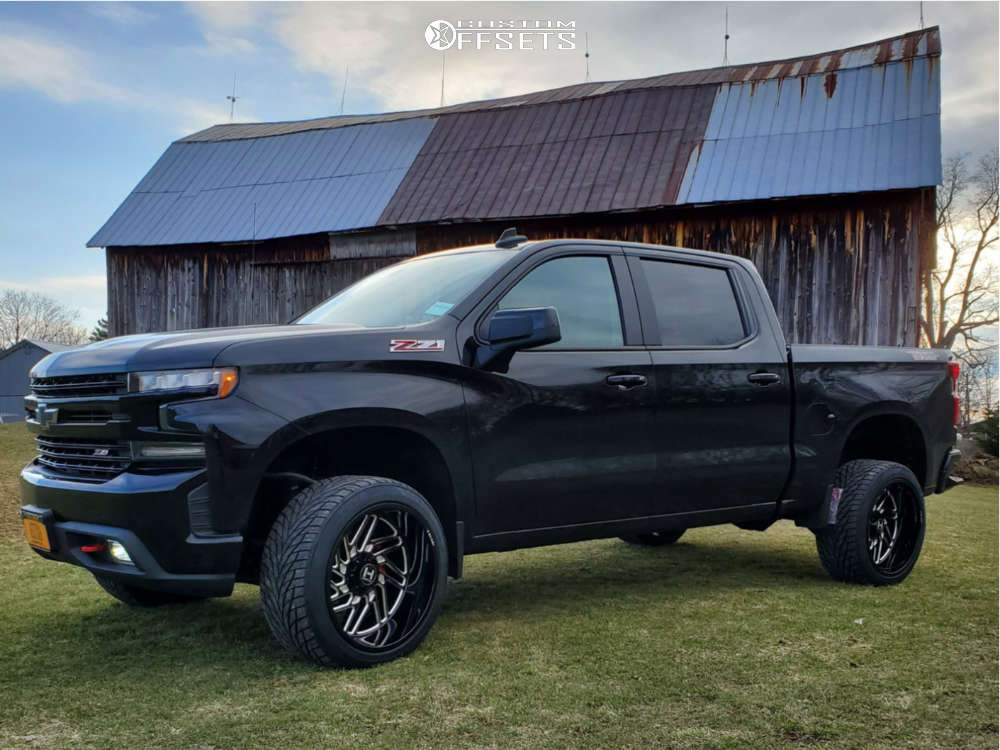 """2019 Chevrolet Silverado 1500 Aggressive > 1"""" outside fender on 22x12 -44 offset Hostile Jigsaw & 305/45 Toyo Tires Proxes S/t on Stock Suspension - Custom Offsets Gallery"""