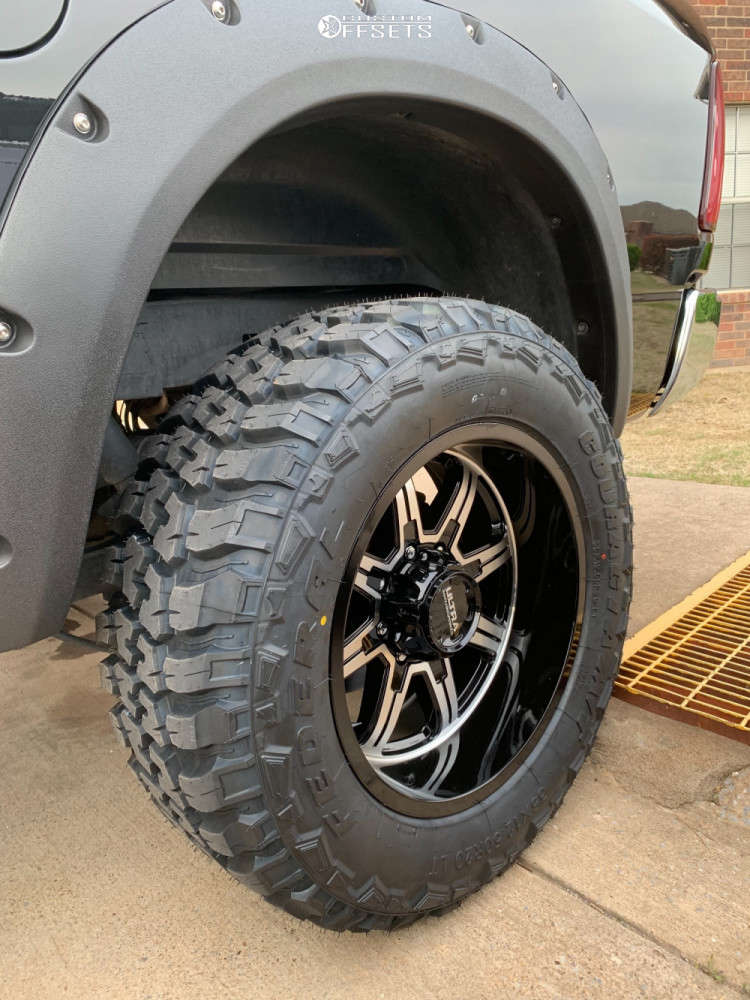"""2016 Ram 2500 Aggressive > 1"""" outside fender on 20x10 -25 offset Ultra Menace & 35""""x12.5"""" Federal Couragia Mt on Leveling Kit - Custom Offsets Gallery"""