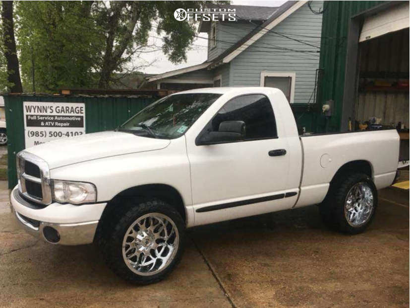"""2004 Dodge Ram 1500 Aggressive > 1"""" outside fender on 22x12 -44 offset RBP 73r & 33""""x12.5"""" AMP Mud Terrain Attack Mt A on Leveling Kit - Custom Offsets Gallery"""