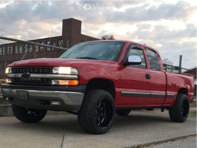 "1999 Chevrolet Silverado 1500 Aggressive > 1"" outside fender on 20x12 -44 offset Pure Grit Grit & 285/50 Atturo Az800 on Leveling Kit - Custom Offsets Gallery"