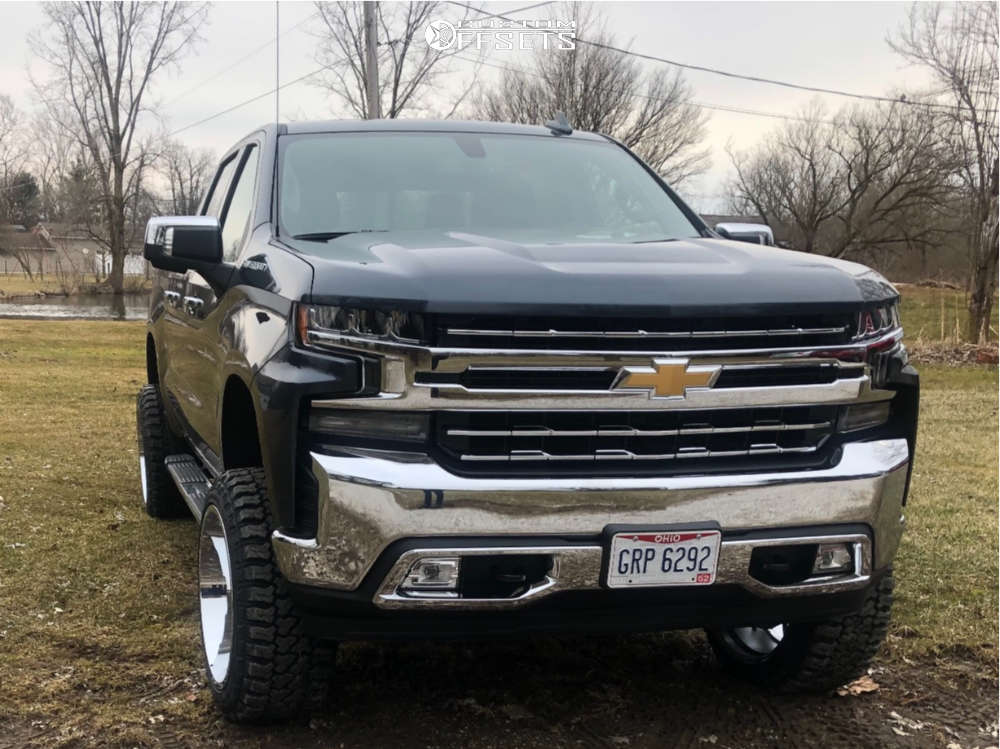 """2019 Chevrolet Silverado 1500 Aggressive > 1"""" outside fender on 22x12 -44 offset Hostile Sprocket & 33""""x12.5"""" Fury Offroad Country Hunter Mt on Suspension Lift 6"""" - Custom Offsets Gallery"""