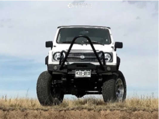 """1993 Suzuki Samurai Aggressive > 1"""" outside fender on 16x8 -12 offset Pro Comp Series 69 and 245/75 Big O Big Foot on Suspension Lift 6"""" - Custom Offsets Gallery"""