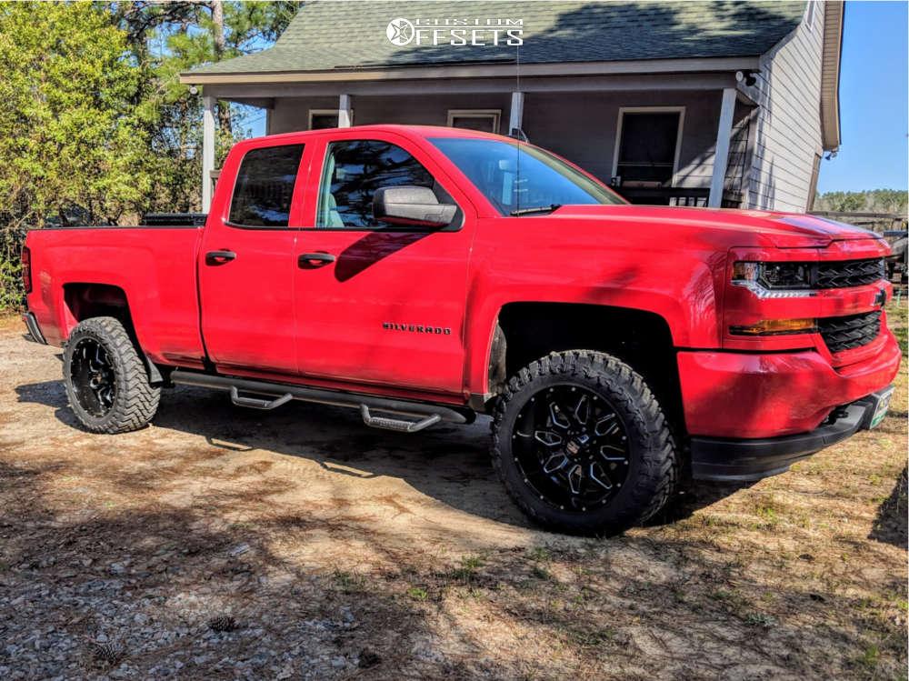 "2018 Chevrolet Silverado 1500 Aggressive > 1"" outside fender on 20x10 -24 offset Havok H109 & 33""x12.5"" Atturo Trail Blade Mt on Suspension Lift 3.5"" - Custom Offsets Gallery"