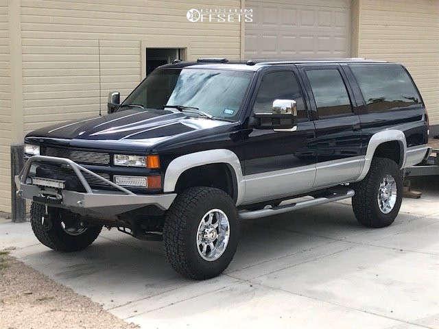 """1993 Chevrolet K2500 Suburban Aggressive > 1"""" outside fender on 17x9 -12 offset Raceline Assault & 295/65 Nitto Terra Grappler G2 on Suspension Lift 4"""" - Custom Offsets Gallery"""