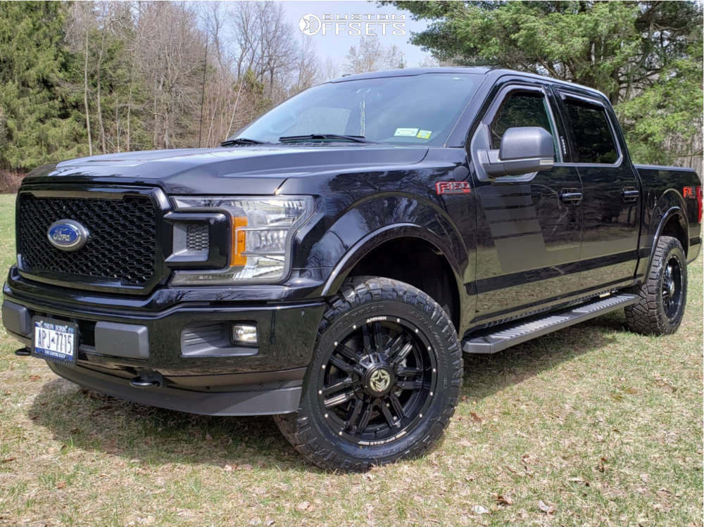 """2018 Ford F-150 Aggressive > 1"""" outside fender on 20x9 12 offset Anthem Off-Road Equalizer and 285/60 Nitto Ridge Grappler on Leveling Kit - Custom Offsets Gallery"""