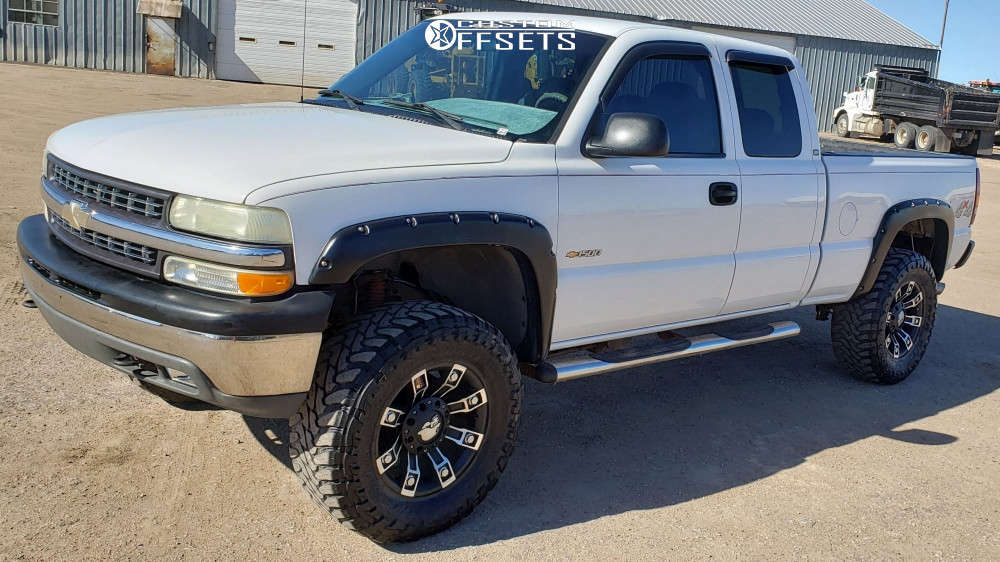 """2001 Chevrolet Silverado 1500 Slightly Aggressive on 18x9 0 offset Metal Mulisha Series 13 & 35""""x12.5"""" Toyo Tires Open Country M/T on Suspension Lift 6"""" - Custom Offsets Gallery"""