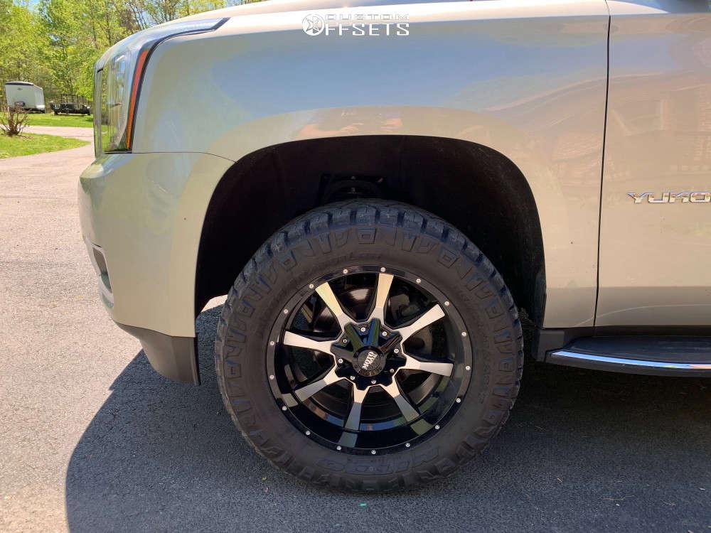 "2016 GMC Yukon XL Aggressive > 1"" outside fender on 20x9 0 offset Moto Metal Mo970 & 33""x12.5"" Nitto Ridge Grappler on Suspension Lift 4"" - Custom Offsets Gallery"