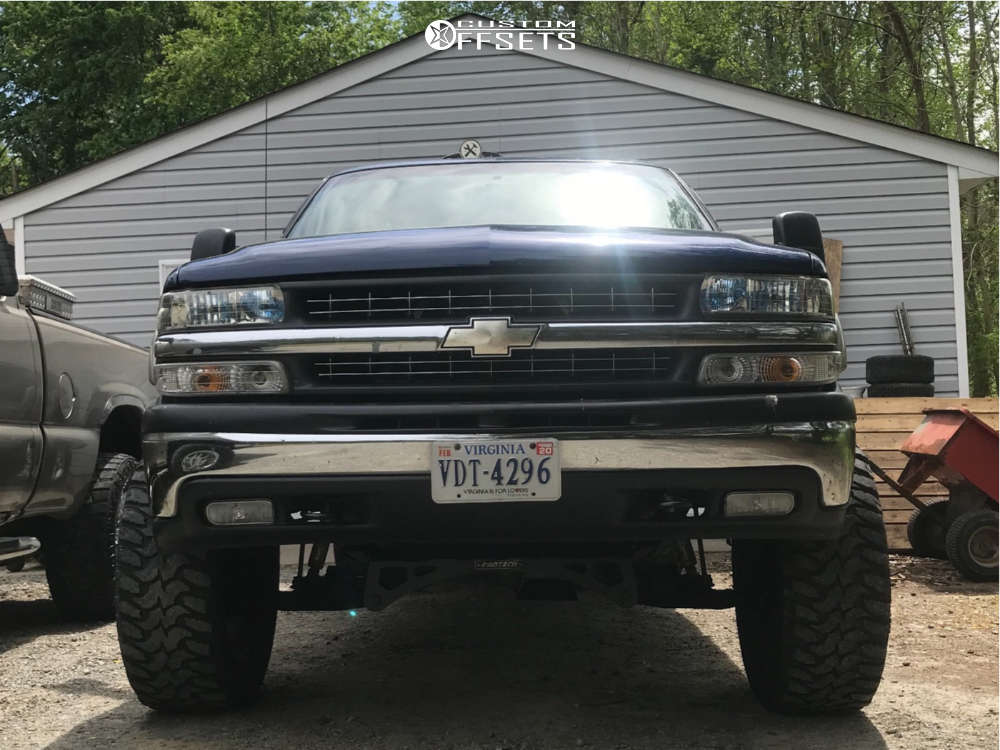 "2001 Chevrolet Silverado 1500 Aggressive > 1"" outside fender on 20x9 -12 offset DPR Gloc & 35""x12.5"" Lexani Mud Beast Mt on Suspension Lift 6"" - Custom Offsets Gallery"