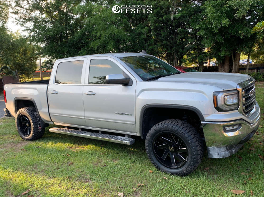 """2016 GMC Sierra 1500 Aggressive > 1"""" outside fender on 20x10 -25 offset ARKON OFF-ROAD Lincoln and 33""""x12.5"""" Nitto Ridge Grappler on Suspension Lift 3"""" - Custom Offsets Gallery"""