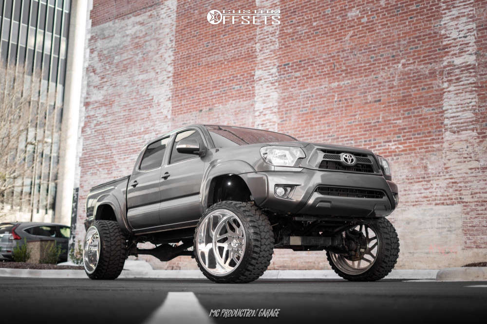 """2013 Toyota Tacoma Aggressive > 1"""" outside fender on 24x14 -76 offset Specialty Forged Sf35 & 33""""x14.5"""" Fury Offroad Country Hunter Mt on Suspension Lift 7.5"""" - Custom Offsets Gallery"""