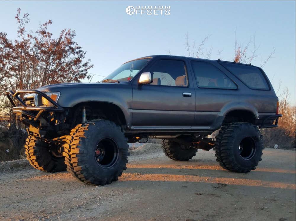 "1990 Toyota 4Runner Hella Stance >5"" on 15x14 -88 offset Bart Super Trucker and 35""x16.5"" Super Swamper Bogger on Suspension Lift 6"" - Custom Offsets Gallery"
