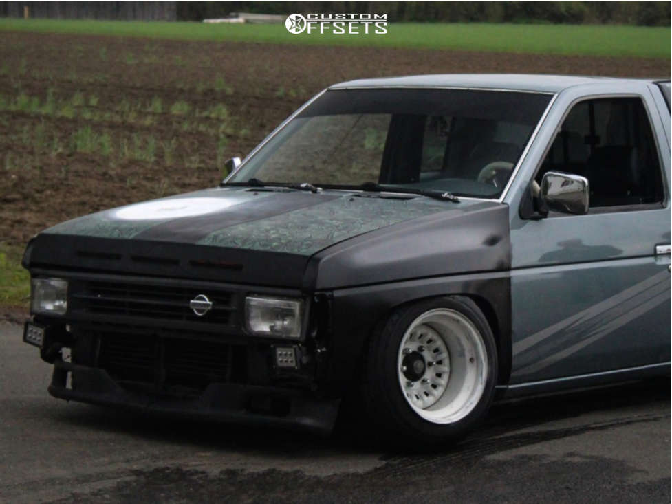 """1993 Nissan D21 Aggressive > 1"""" outside fender on 15x10 -43 offset American Racing Ar136 and 195/60 Achilles 868 All Seasons on Lowered 5F / 7R - Custom Offsets Gallery"""