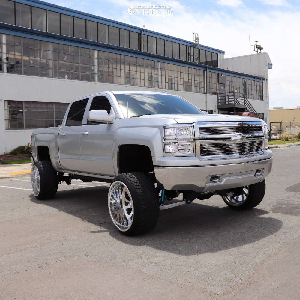 "2014 Chevrolet Silverado 1500 Aggressive > 1"" outside fender on 24x14 -73 offset American Force Octane Ss & 305/35 Atturo Az800 on Suspension Lift 8"" - Custom Offsets Gallery"