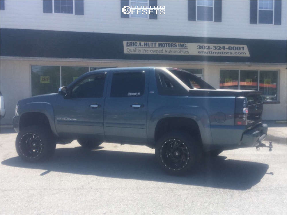"""2008 Chevrolet Avalanche Hella Stance >5"""" on 20x12 -44 offset Rbp 66r & 305/50 Nitto Nt420s on Suspension Lift 5"""" - Custom Offsets Gallery"""