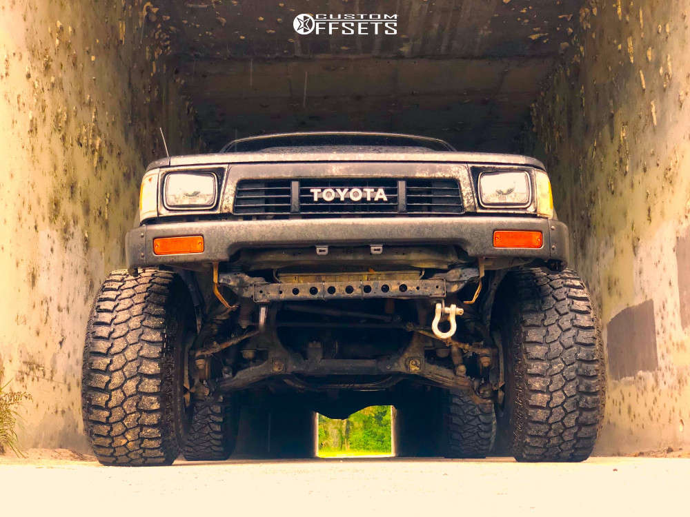 """1989 Toyota Pickup Hella Stance >5"""" on 15x14 -76 offset Weld XT Forged Scorpio and 33""""x12.5"""" Mud Claw Extreme M/t on Suspension Lift 3"""" - Custom Offsets Gallery"""