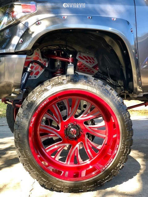 """2015 Toyota Tundra Aggressive > 1"""" outside fender on 26x16 -101 offset Fuel Forged Ff41 and 38""""x15.5"""" Fury Offroad Country Hunter Mt on Suspension Lift 12"""" - Custom Offsets Gallery"""
