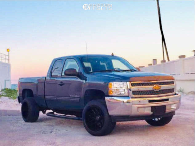 "2013 Chevrolet Silverado 1500 Aggressive > 1"" outside fender on 20x12 -44 offset Motiv Offroad Magnus & 285/50 Atturo Az610 on Body Lift 3"" - Custom Offsets Gallery"