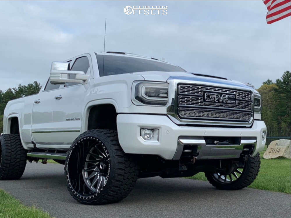 """2019 GMC Sierra 2500 HD Hella Stance >5"""" on 24x14 -90 offset American Force Morph Cc & 33""""x14.5"""" Fury Offroad Country Hunter Mt on Suspension Lift 3.5"""" - Custom Offsets Gallery"""