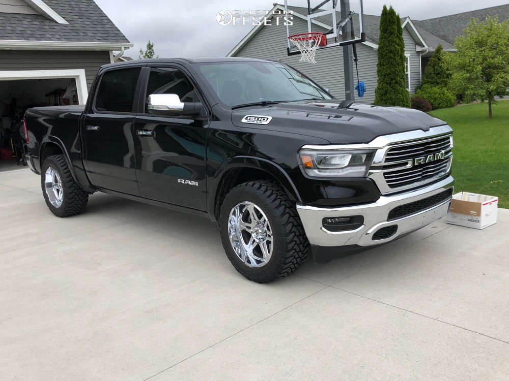 """2019 Ram 1500 Aggressive > 1"""" outside fender on 20x10 -19 offset Hostile Havoc and 295/55 Toyo Tires Open Country M/T on Stock Suspension - Custom Offsets Gallery"""