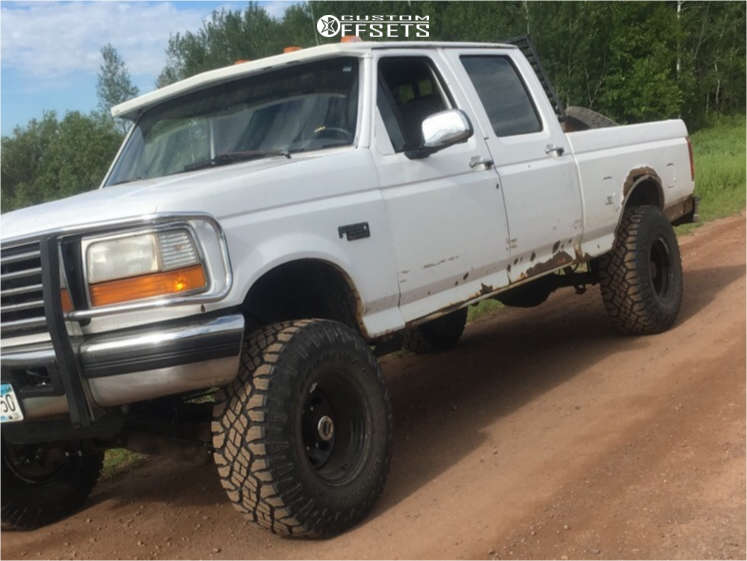 """1996 Ford F-250 Aggressive > 1"""" outside fender on 16x10 -38 offset Pro Comp Series 97 & 315/75 Goodyear Wrangler Duratrac on Suspension Lift 4"""" - Custom Offsets Gallery"""