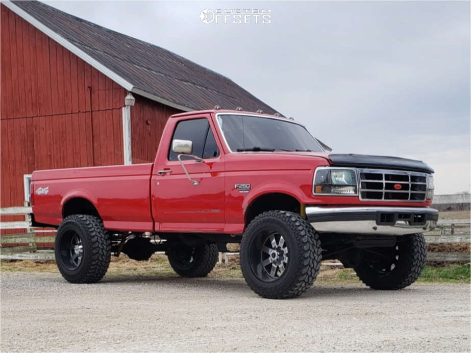 """1996 Ford F-250 Aggressive > 1"""" outside fender on 20x12 -44 offset Moto Metal Mo200 & 35""""x12.5"""" Firestone Destination MT on Suspension Lift 2.5"""" - Custom Offsets Gallery"""