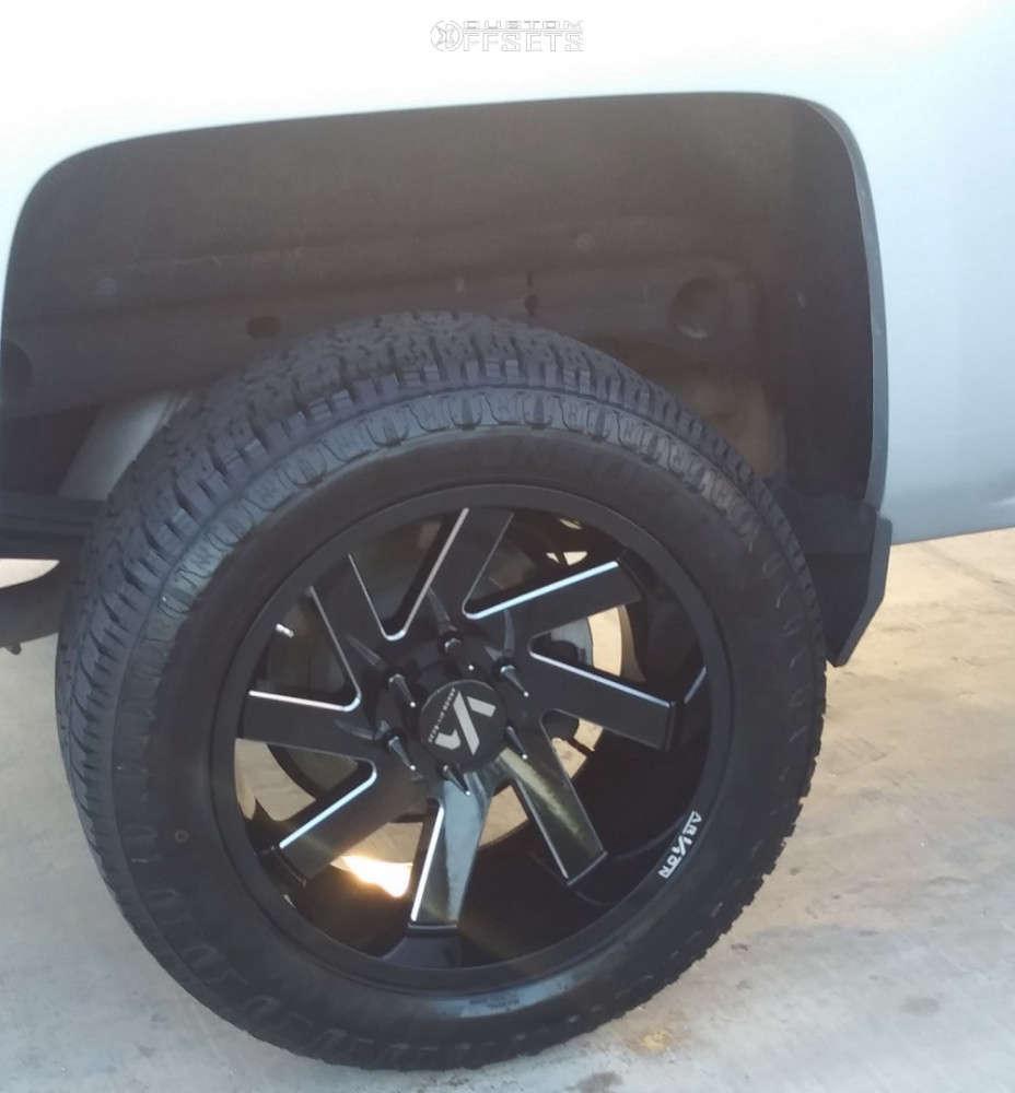 "2018 Chevrolet Silverado 1500 Aggressive > 1"" outside fender on 20x10 -25 offset ARKON OFF-ROAD Lincoln & 275/60 Nankang Conqueror At-5 on Air Suspension - Custom Offsets Gallery"