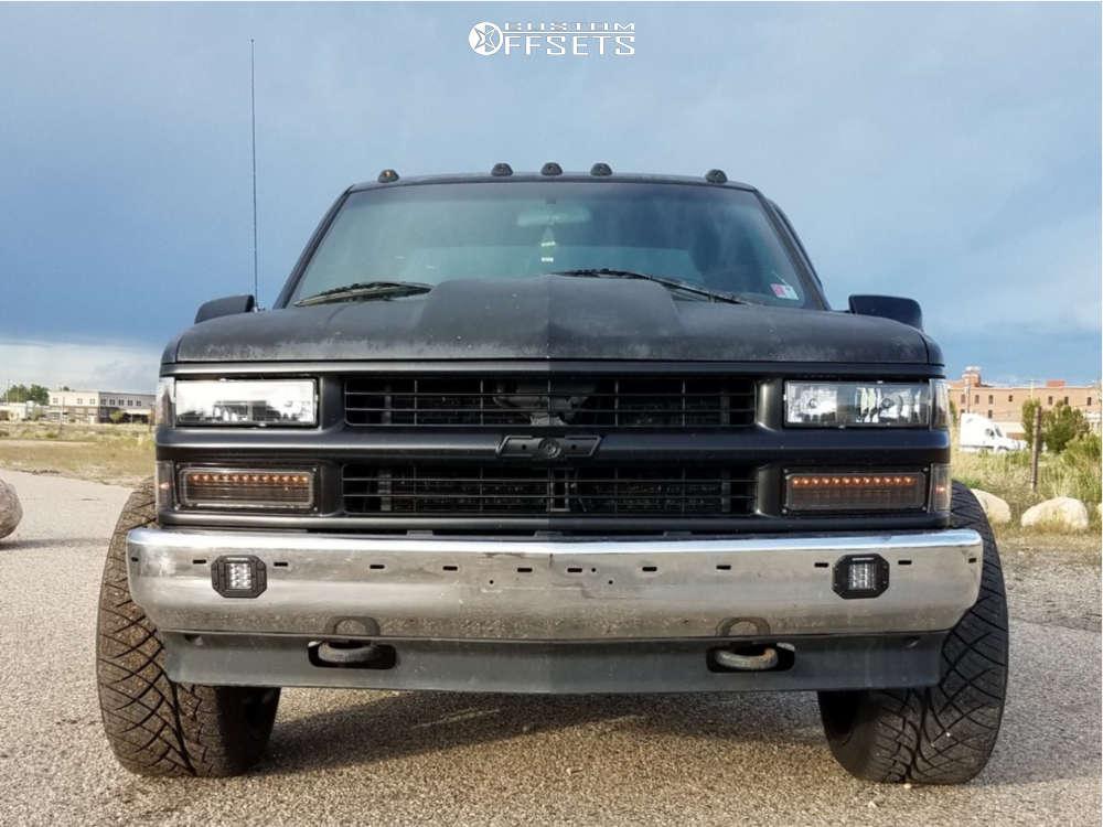 "1995 Chevrolet K1500 Super Aggressive 3""-5"" on 22x12 -51 offset Vision Rocker & 305/40 Nitto Nt420s on Leveling Kit - Custom Offsets Gallery"
