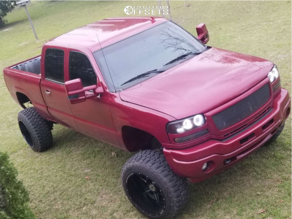 """2006 GMC Sierra 2500 HD Classic Aggressive > 1"""" outside fender on 22x14 -76 offset Anthem Off-Road Equalizer & 33""""x12.5"""" Fury Offroad Country Hunter Mt on Suspension Lift 6"""" - Custom Offsets Gallery"""