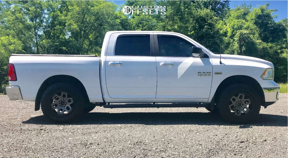 """2017 Ram 1500 Aggressive > 1"""" outside fender on 20x10 -25 offset Ultra Warlock and 275/60 Nitto Ridge Grappler on Leveling Kit - Custom Offsets Gallery"""