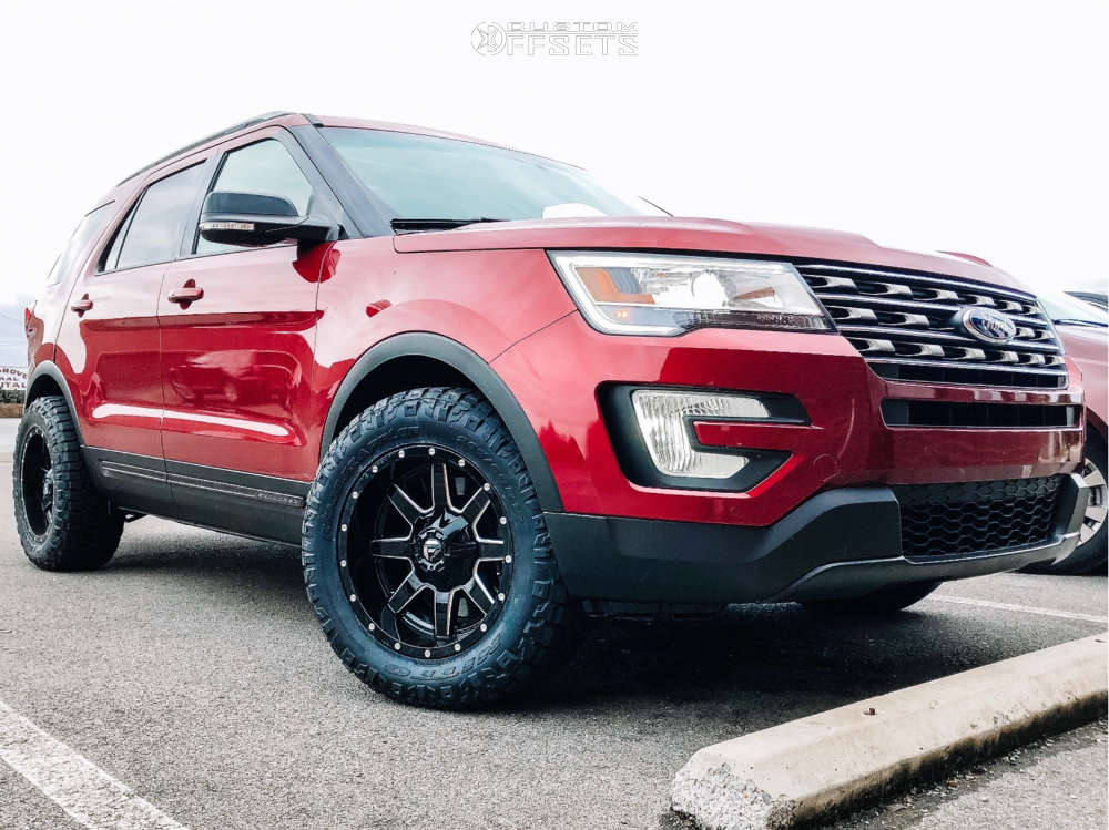 """2016 Ford Explorer Aggressive > 1"""" outside fender on 18x9 -12 offset Fuel Maverick D610 and 265/60 Nitto Ridge Grappler on Stock Suspension - Custom Offsets Gallery"""