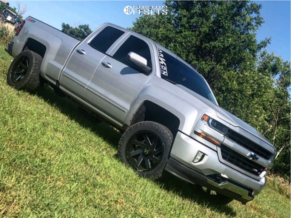 """2017 Chevrolet Silverado 1500 Aggressive > 1"""" outside fender on 20x10 -25 offset ARKON OFF-ROAD Lincoln and 285/55 Nitto Ridge Grappler on Suspension Lift 2.5"""" - Custom Offsets Gallery"""
