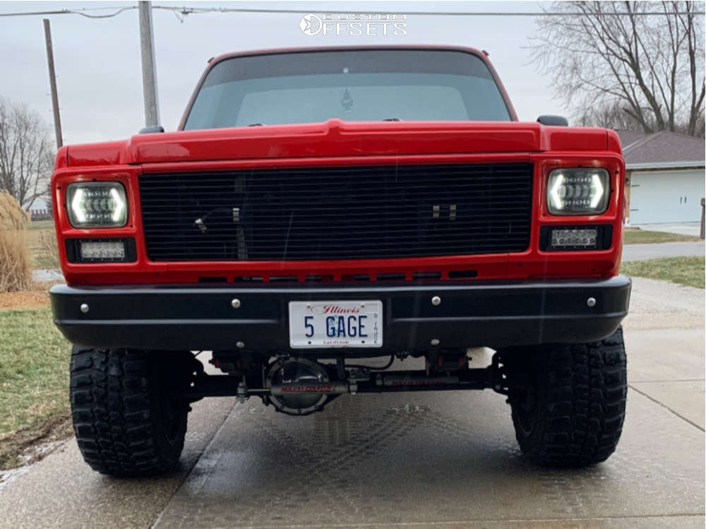 """1980 Chevrolet K20 Aggressive > 1"""" outside fender on 20x12 -51 offset Vision Prowler & 35""""x12.5"""" Federal Couragia Mt on Suspension Lift 4"""" - Custom Offsets Gallery"""