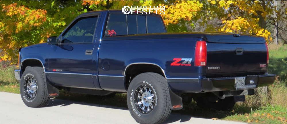 """1998 GMC K1500 Aggressive > 1"""" outside fender on 16x8 0 offset XD Hoss & 265/75 Bridgestone Dueler A/t Revo 3 on Stock Suspension - Custom Offsets Gallery"""