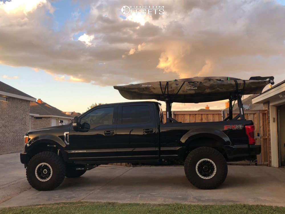 """2018 Ford F-350 Super Duty Slightly Aggressive on 17x8.5 -6 offset Innov8 Racing G500 and 40""""x13.5"""" Toyo Tires Open Country M/T on Suspension Lift 4.5"""" - Custom Offsets Gallery"""