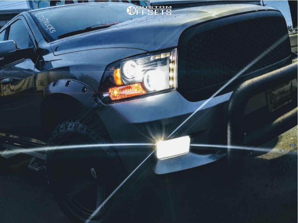 "2010 Dodge Ram 1500 Aggressive > 1"" outside fender on 20x11.5 -44 offset Vision Empire & 305/55 Goodyear Wrangler Duratrac on Leveling Kit - Custom Offsets Gallery"