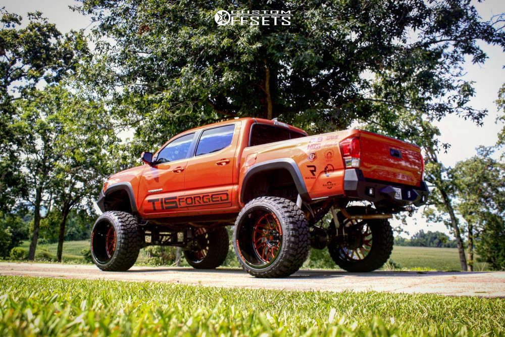 """2017 Toyota Tacoma Hella Stance >5"""" on 26x16 -101 offset Tis Forged F51bm1 and 38""""x15.5"""" Fury Offroad Country Hunter Mt on Suspension Lift 12"""" - Custom Offsets Gallery"""