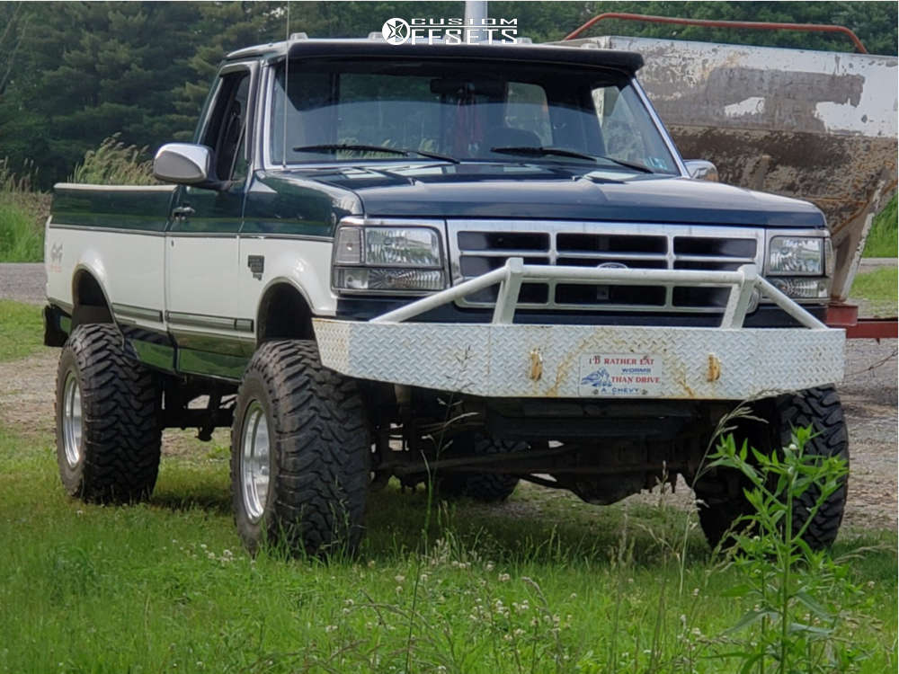 1997 Ford F-350 Slightly Aggressive on 16x12 -50 offset Mickey Thompson Classic Iii & 315/75 Toyo Tires Open Country M/T on Leveling Kit - Custom Offsets Gallery